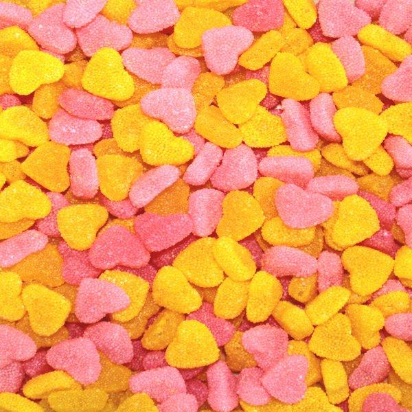 Pink & Yellow Granular Hearts